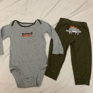 Carter's body suit and pants set olive 12 months